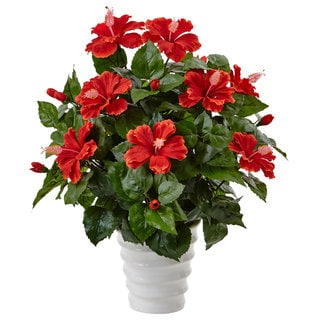 Nearly Natural Silk Artificial Hibiscus in Swirl Planter