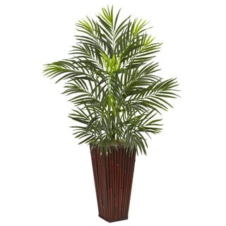 Nearly Natural Areca Palm in Bamboo Planter