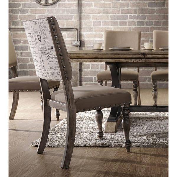 Incredible Shop Birmingham Script Printed Driftwood Finish Dining Chair Ibusinesslaw Wood Chair Design Ideas Ibusinesslaworg