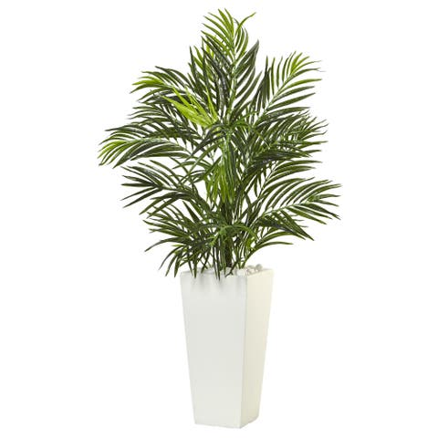 Nearly Natural Areca Palm in White Square Planter