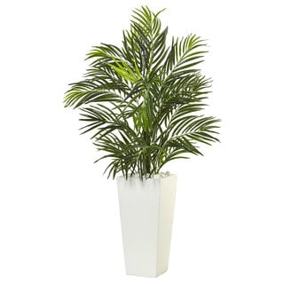 Nearly Natural Areca Palm in White Square Planter
