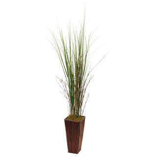 Nearly Natural Bamboo Grass in Bamboo Planter