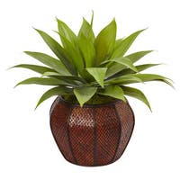 Nearly Natural Silk Artificial Agave Succulent in Weave Planter