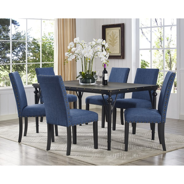 Biony 7 Piece Espresso Wood Dining Set With Fabric Nailhead Chairs