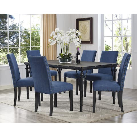 The Curated Nomad Arkin Espresso Wood 7-piece Dining Set with Fabric Nailhead Chairs