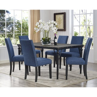 Biony 7-Piece Espresso Wood Dining Set with Fabric Nailhead Chairs