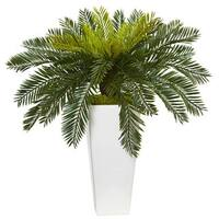 Nearly Natural Silk Artificial Cycus in White Planter