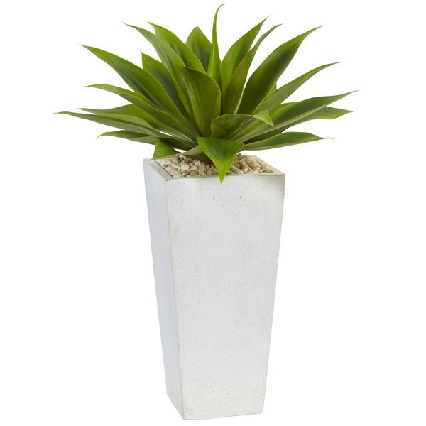 Nearly Natural Silk Artificial Agave in White Planter. Opens flyout.
