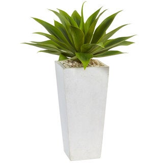 Nearly Natural Silk Artificial Agave in White Planter