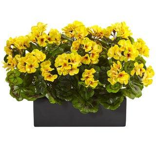 Nearly Natural Indoor Outdoor Yellow Geranium in Rectangular Planter