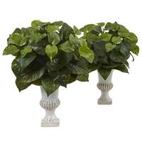 Nearly Natural Silk Artificial Pothos Plants in Urns (Set of 2)