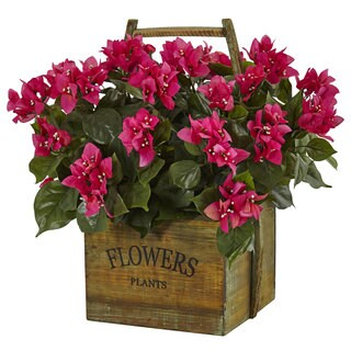 Nearly Natural Bougainvillea in Rustic Wood Planter