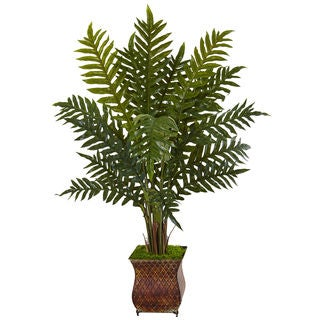 Nearly Natural 4-foot Evergreen Plant in Metal Planter