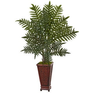 Nearly Natural 4-foot Evergreen Plant in Decorative Wood Planter