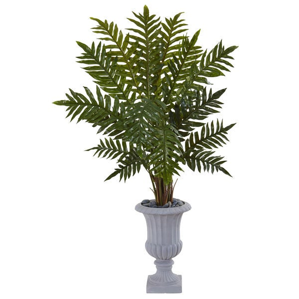 Nearly Natural 4.5-foot Evergreen Silk Plant in Grey Urn