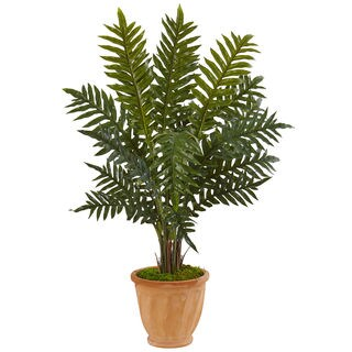 Nearly Natural Faux 4-foot Evergreen Plant in Terracotta Planter