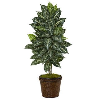 Nearly Natural 4-foot Zebra Plant in Coiled Rope Planter