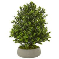 Nearly Natural Silk Artificial Indoor/Outdoor Boxwood Plant in Stone Planter