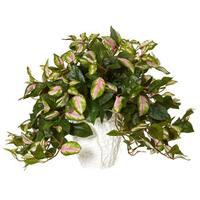 Nearly Natural Silk Artificial Hoya in White Ceramic Vase
