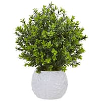 Nearly Natural Boxwood in White Vase (Indoor/Outdoor)