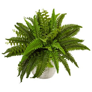 Nearly Natural Green/White Faux Boston Fern in Planter