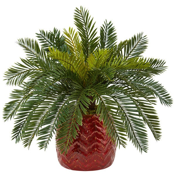 Nearly Natural Cycas in Red Ceramic Planter