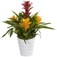 Nearly Natural Bromeliad in White Swirl Vase