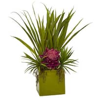 Nearly Natural Silk Tropical and Succulent Artificial Floral Arrangement in Green Planter