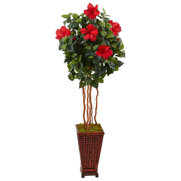Nearly Natural 5' Hibiscus Tree in Decorative Wood Planter