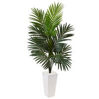 Nearly Natural White 4.5-foot Kentia Palm Tree Tower Planter