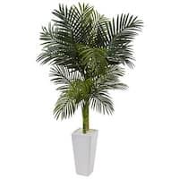 Nearly Natural 5-foot Golden Cane Palm Tree Silk Plant in White Tower Planter