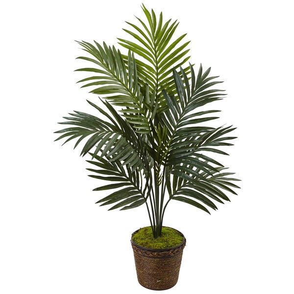 Nearly Natural Silk 4-foot Artificial Kentia Palm Tree in Coiled-rope Planter