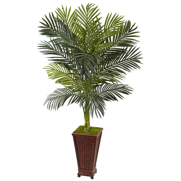 Faux 5-foot Golden Cane Palm Tree in Tapered Bamboo Planter
