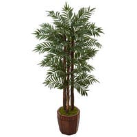 Nearly Natural 4.5-foot Parlor Palm Tree in Bamboo Planter
