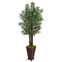 Nearly Natural 5-foot Silk Parlor Palm Tree in Wooden Decorated Planter
