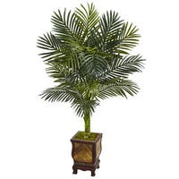 Nearly Natural 4.5-foot Golden Cane Palm Tree Silk Plant in Wooden Decorated Planter