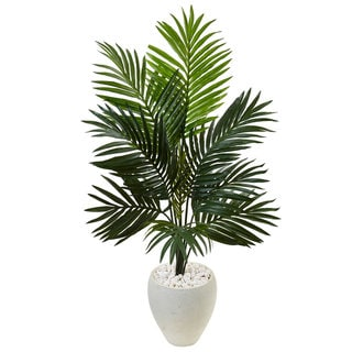 Nearly Natural 4.5-foot Kentia Palm Tree in White Oval Planter