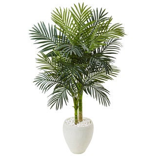 Nearly Natural Green and White 4.5-foot Golden Cane Palm Tree Silk Plant