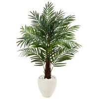 4.5-foot Areca Palm Tree in White Oval Planter