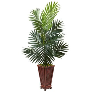 Nearly Natural 4.5 ft. Kentia Palm Tree Silk Plant in Decorative Wood Planter