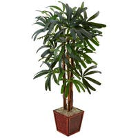 Nearly Natural 5-foot Raphis Palm Tree in Bamboo Planter