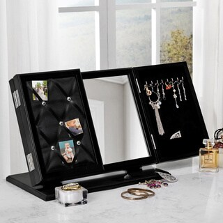 Inspired Home Linda Modern Contemporary 3-in-1 Trifold Tabletop Vanity Mirror with Jewelry Storage and Memo Board