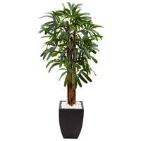 Nearly Natural Silk 5.5-foot Artifical Raphis Palm Tree in Black Planter
