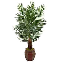 Nearly Natural Silk 5-foot Artificial Areca Palm Tree in Weave Planter