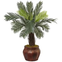 Nearly Natural Green Silk 3.5-foot Cycas Tree in Wood Planter