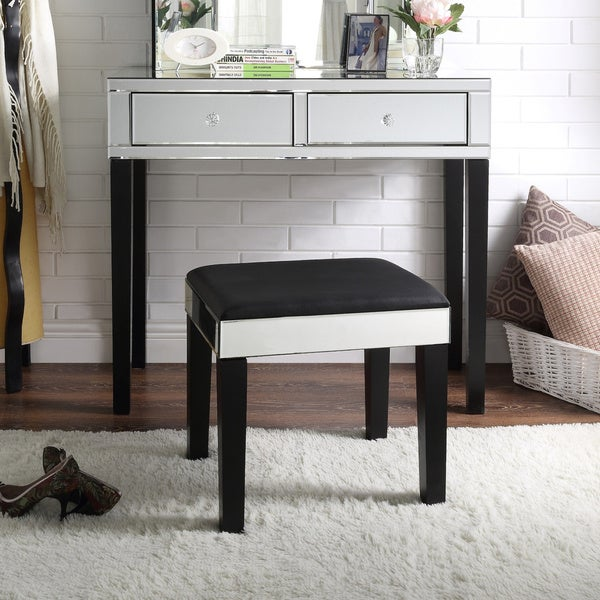 Inspired Home Portia Modern Contemporary Mirrored 2 Drawer Vanity Table And  Stool Set