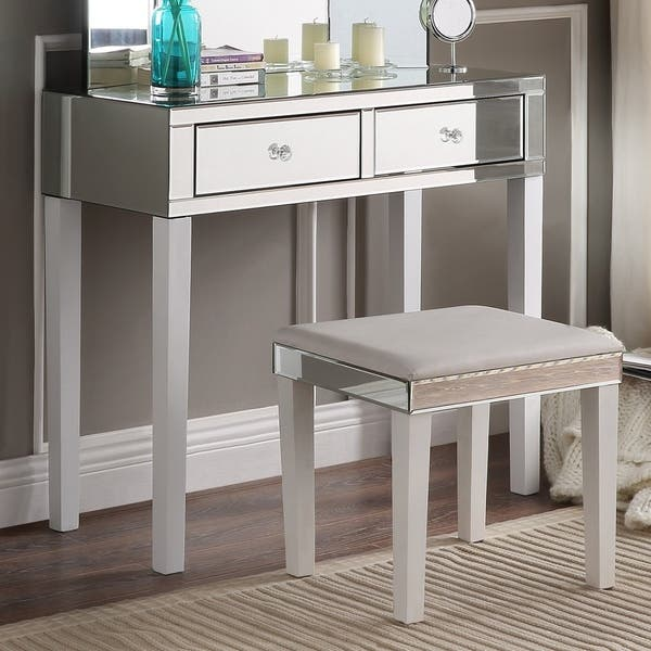 Portia Mirrored 2 Drawer Vanity Corner Vanity Table And Stool Set N A Overstock 16564266