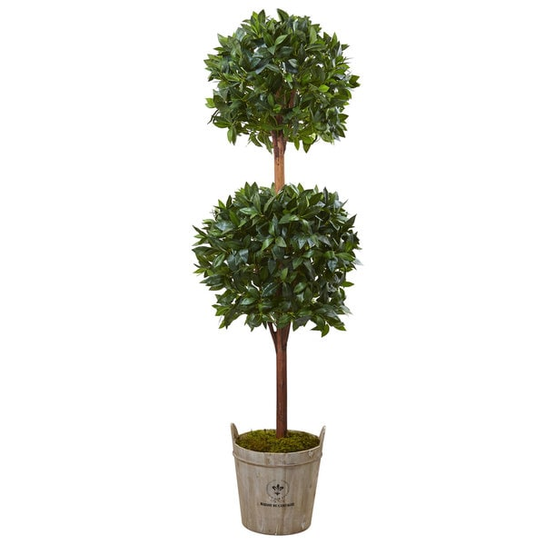 Nearly Natural Double Ball 6-foot Topiary Tree with European Barrel Planter