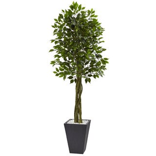 Nearly Natural Grey 6.5-foot Ficus Tree Indoor or Outdoor Planter