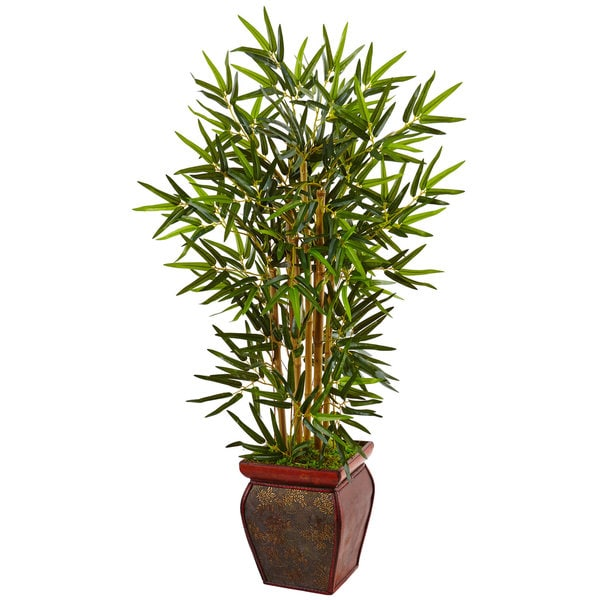Nearly Natural 3.5-foot Bamboo Tree in Wooden Decorative Planter